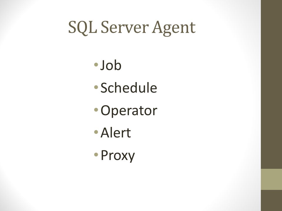 SQL Server Agent Job Schedule Operator Alert Proxy