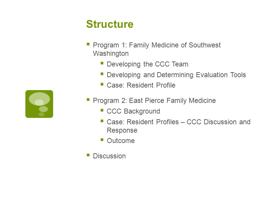 Structure  Program 1: Family Medicine of Southwest Washington  Developing the CCC Team  Developing and Determining Evaluation Tools  Case: Resident Profile  Program 2: East Pierce Family Medicine  CCC Background  Case: Resident Profiles – CCC Discussion and Response  Outcome  Discussion