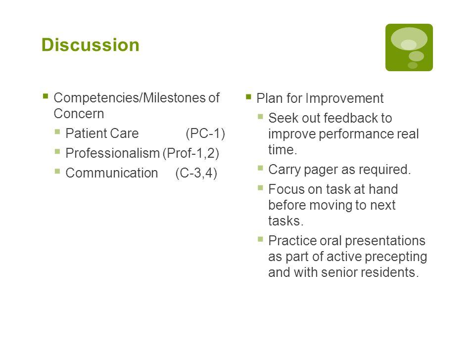 Discussion  Competencies/Milestones of Concern  Patient Care (PC-1)  Professionalism (Prof-1,2)  Communication (C-3,4)  Plan for Improvement  Se