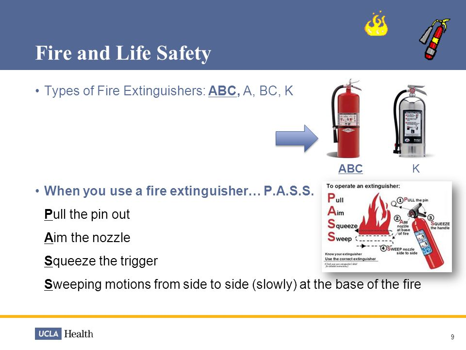 Fire and Life Safety Types of Fire Extinguishers: ABC, A, BC, K When you use a fire extinguisher… P.A.S.S. Pull the pin out Aim the nozzle Squeeze the