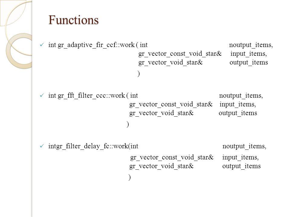 Functions int gr_adaptive_fir_ccf::work ( int noutput_items, gr_vector_const_void_star& input_items, gr_vector_void_star& output_items ) int gr_fft_filter_ccc::work ( int noutput_items, gr_vector_const_void_star& input_items, gr_vector_void_star& output_items ) intgr_filter_delay_fc::work(int noutput_items, gr_vector_const_void_star& input_items, gr_vector_void_star& output_items )