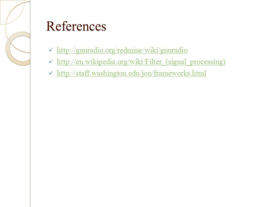 References http://gnuradio.org/redmine/wiki/gnuradio http://en.wikipedia.org/wiki/Filter_(signal_processing) http://staff.washington.edu/jon/frameworks.html