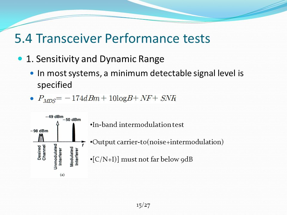 15/27 5.4 Transceiver Performance tests 1.