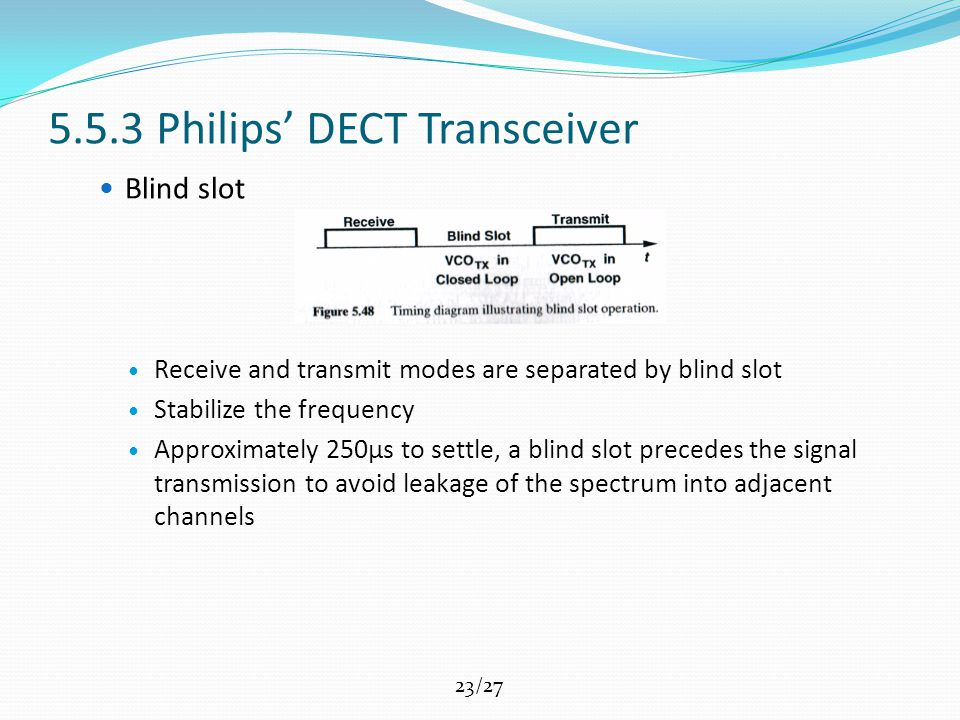 23/27 5.5.3 Philips' DECT Transceiver Blind slot Receive and transmit modes are separated by blind slot Stabilize the frequency Approximately 250μs to settle, a blind slot precedes the signal transmission to avoid leakage of the spectrum into adjacent channels