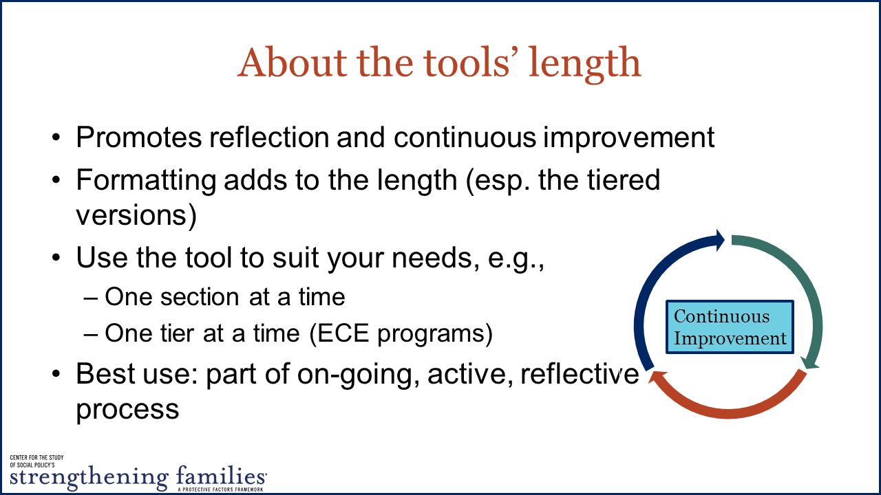 About the tools' length Promotes reflection and continuous improvement Formatting adds to the length (esp.