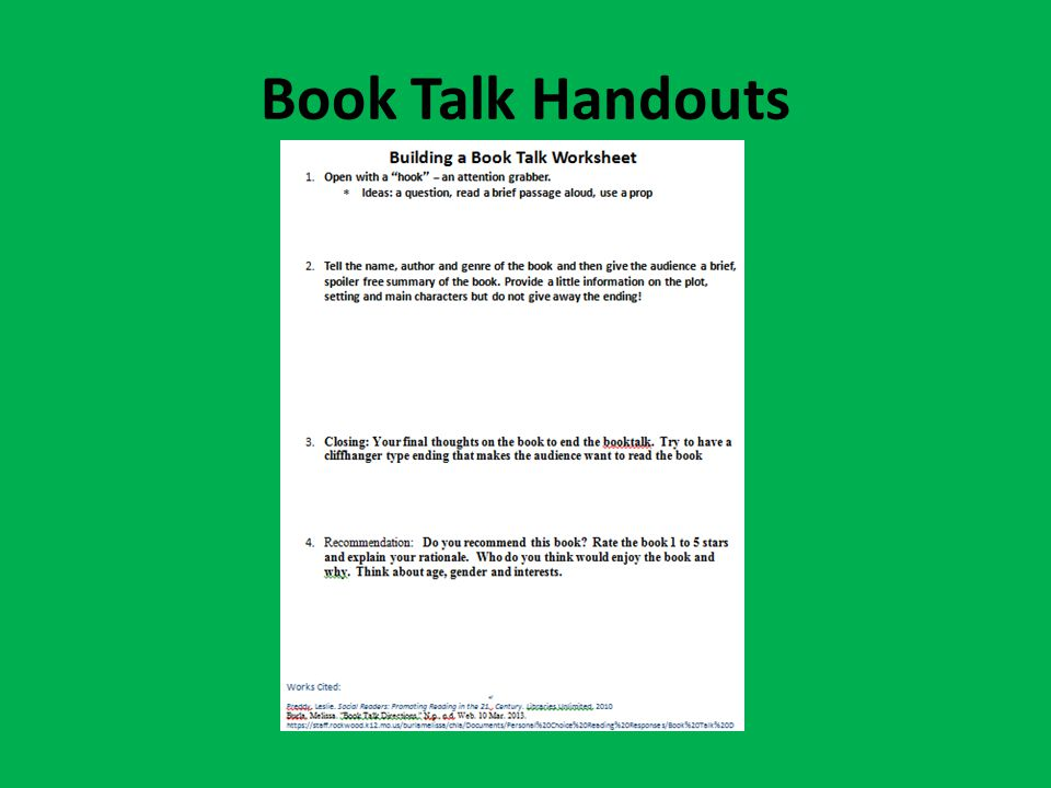 Book Talk Handouts