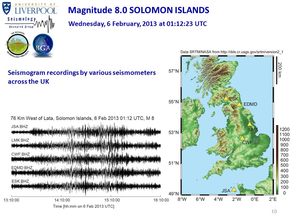 10 Magnitude 8.0 SOLOMON ISLANDS Wednesday, 6 February, 2013 at 01:12:23 UTC Seismogram recordings by various seismometers across the UK
