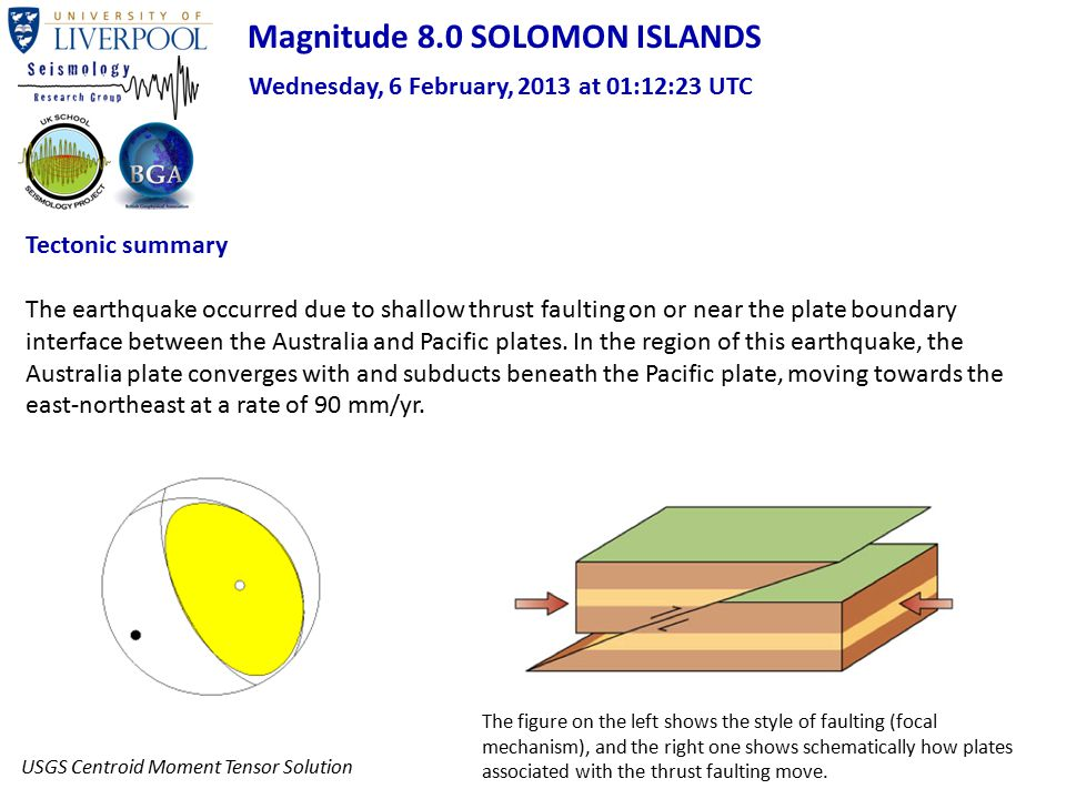 Tectonic summary The earthquake occurred due to shallow thrust faulting on or near the plate boundary interface between the Australia and Pacific plat