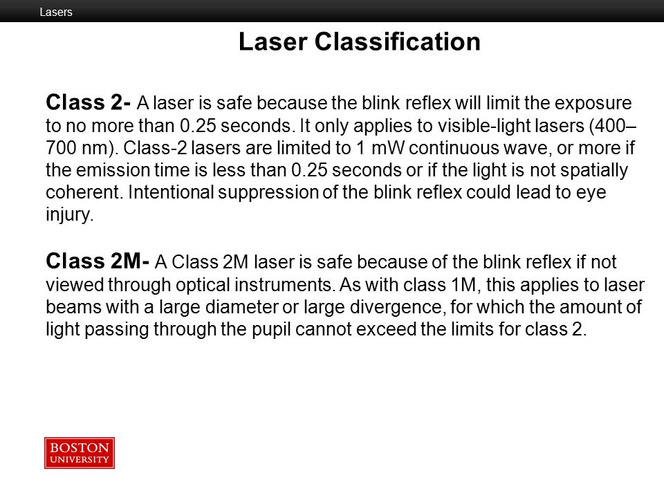 Laser Classification Laser Classification Class 1 - A class 1 laser is safe under all conditions of normal use.