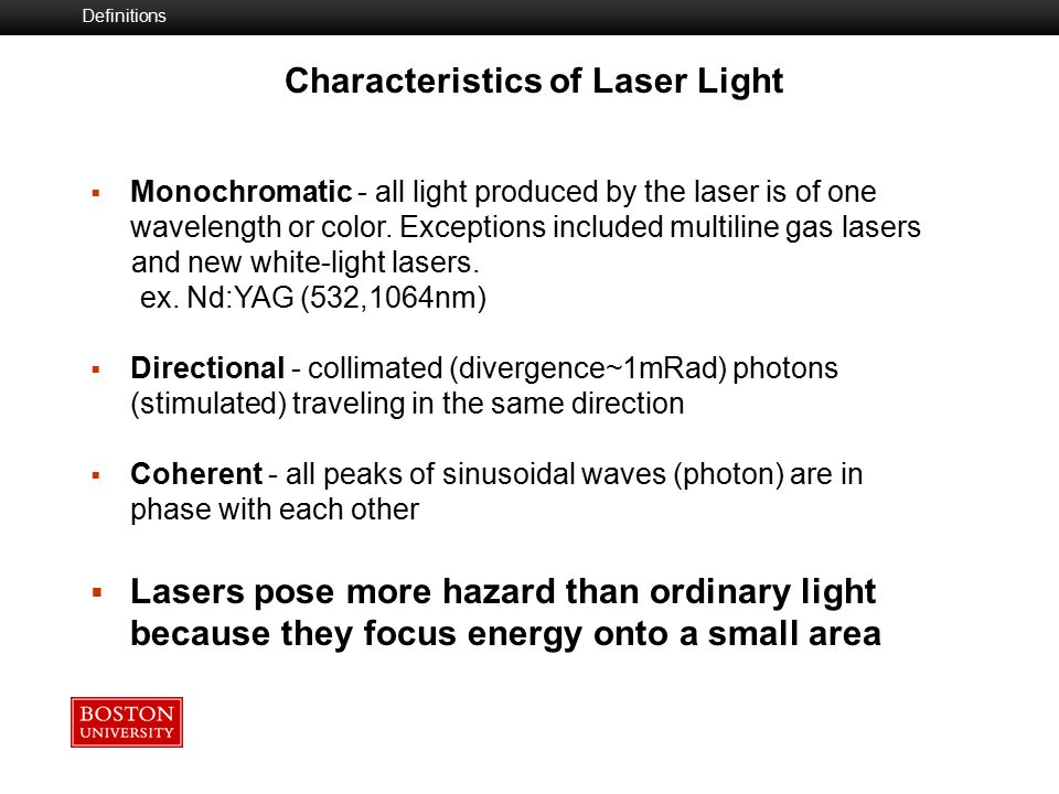 Laser Components Optical Resonator  Mirror  Partially reflective mirror Active Medium  Solid State-operate in pulsed or CW mode  Semiconductor  Gas - CW Co2, Argon, HeNe, Excimer  Liquid (dye) (CW or pulsed) Excitation Mechanism (Pump)  Optical  Electrical  Chemical Semiconductor (Diode)  GaAlAs- 750-950mm range  InGaAsP (Indium Phosphate 1100-1650 nm Laser Systems