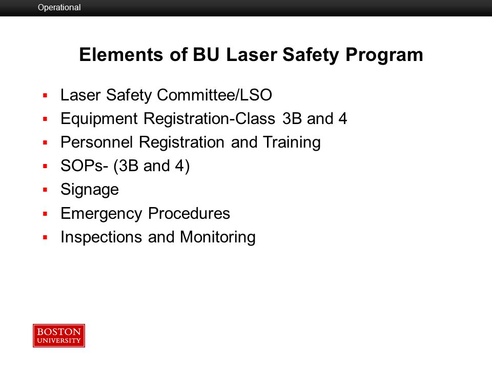 Laser Safety Officer (LSO)  ANSI Z136.1 specifies that any facility using Class 3B or Class 4 lasers or laser systems should designate a Laser Safety Officer to oversee safety for all operational, maintenance, and servicing situations.