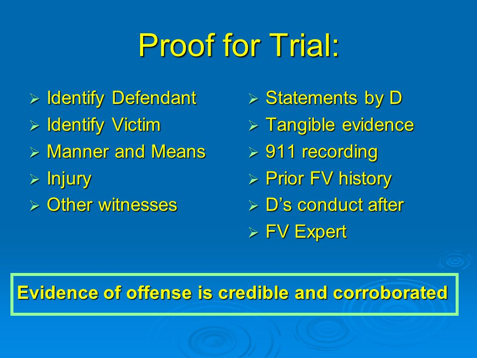 Identify Defendant and Victim  Defendant Photo of D from scene Photo of D from scene V's statement of name and relationship V's statement of name and relationship Other witnesses: past g/f of D or relative of V Other witnesses: past g/f of D or relative of VVictim - Someone who will always know how to contact - All ways to contact: email, cell, pager, work