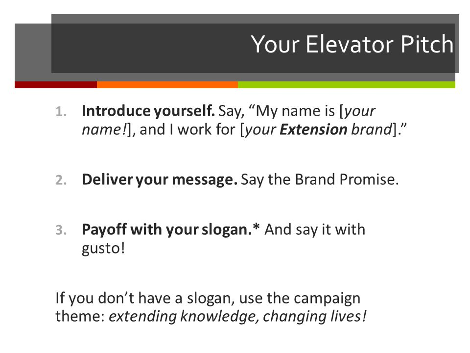 Your Elevator Pitch 1. Introduce yourself.
