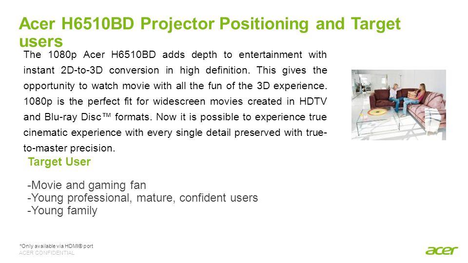 ACER CONFIDENTIAL H6510BD Exceptional Home Entertainment