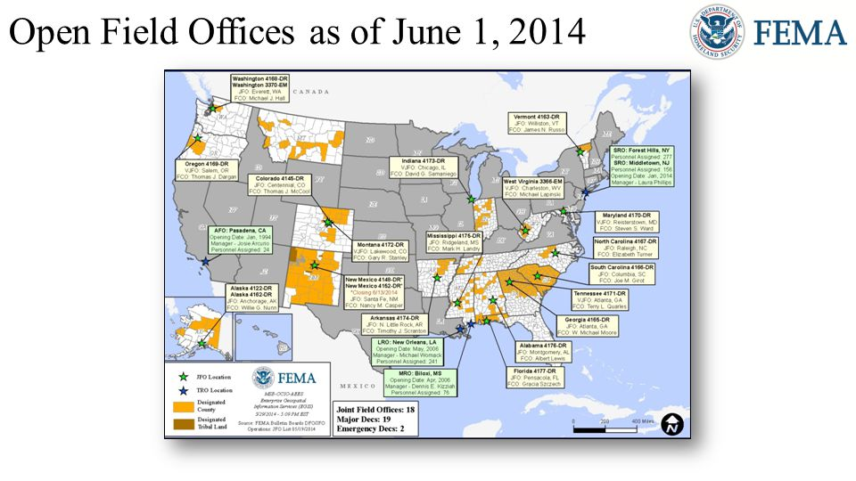 Open Field Offices as of June 1, 2014