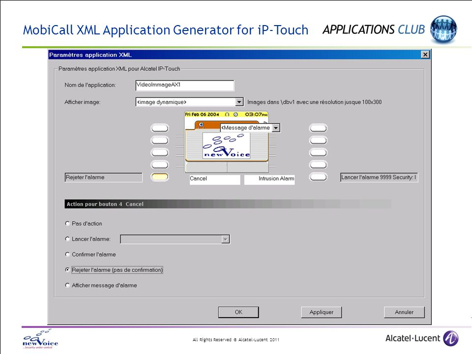 All Rights Reserved © Alcatel-Lucent 2011 MobiCall XML Application Generator for iP-Touch