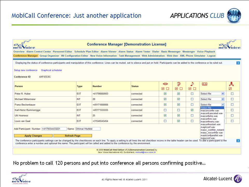 All Rights Reserved © Alcatel-Lucent 2011 MobiCall Conference: Just another application No problem to call 120 persons and put into conference all persons confirming positive…