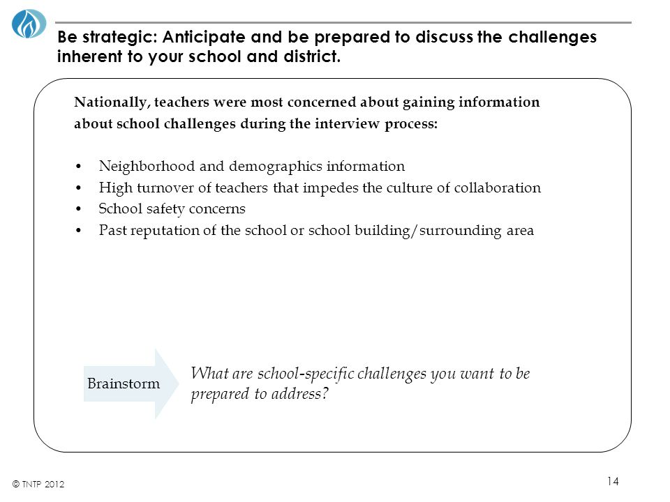 14 © TNTP 2012 Be strategic: Anticipate and be prepared to discuss the challenges inherent to your school and district.