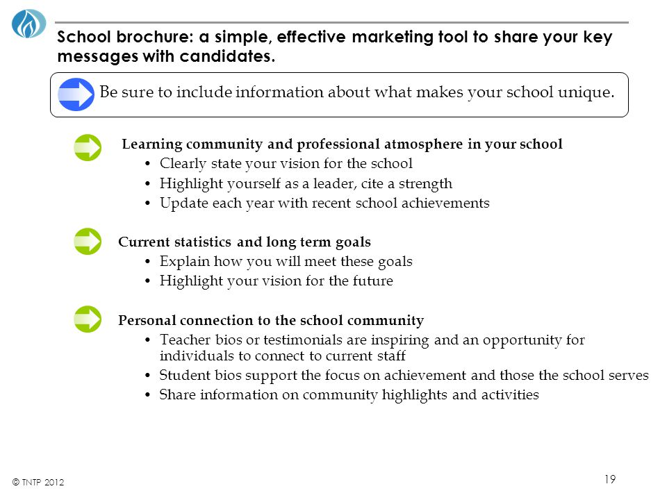 19 © TNTP 2012 School brochure: a simple, effective marketing tool to share your key messages with candidates.