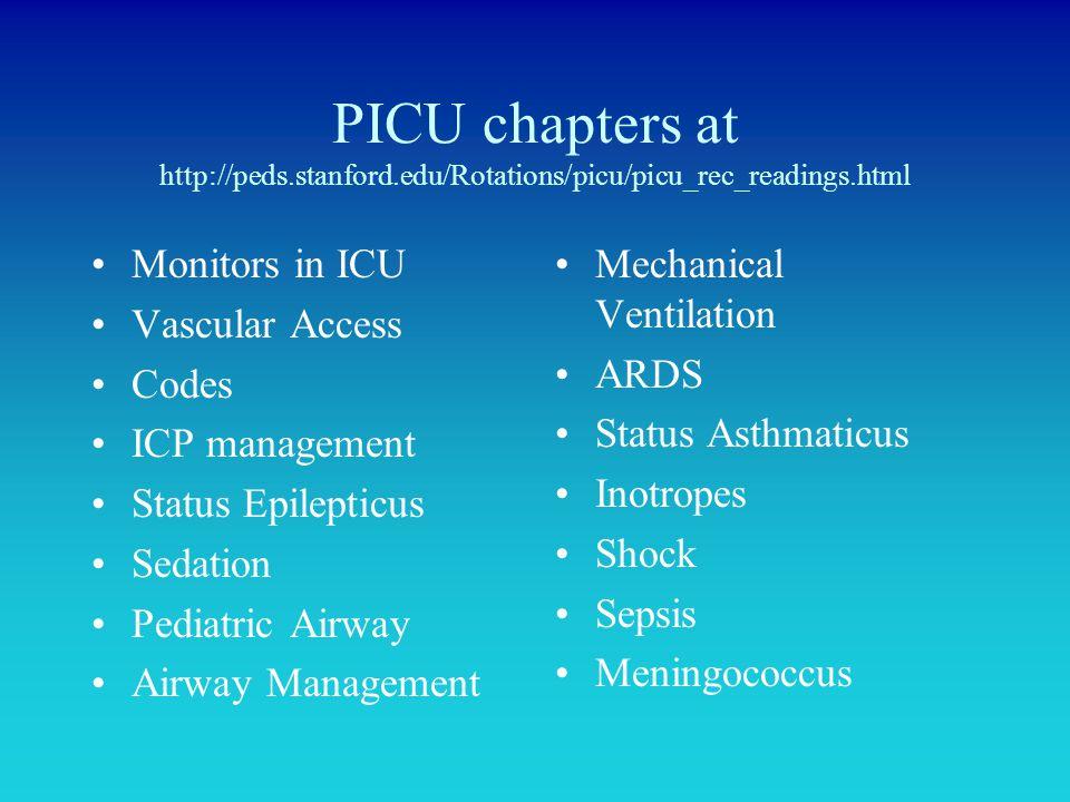 PICU chapters at http://peds.stanford.edu/Rotations/picu/picu_rec_readings.html Monitors in ICU Vascular Access Codes ICP management Status Epilepticu