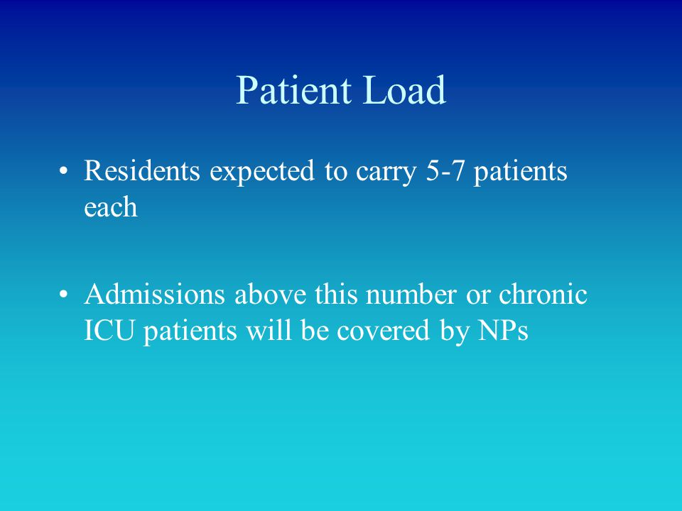 Patient Load Residents expected to carry 5-7 patients each Admissions above this number or chronic ICU patients will be covered by NPs
