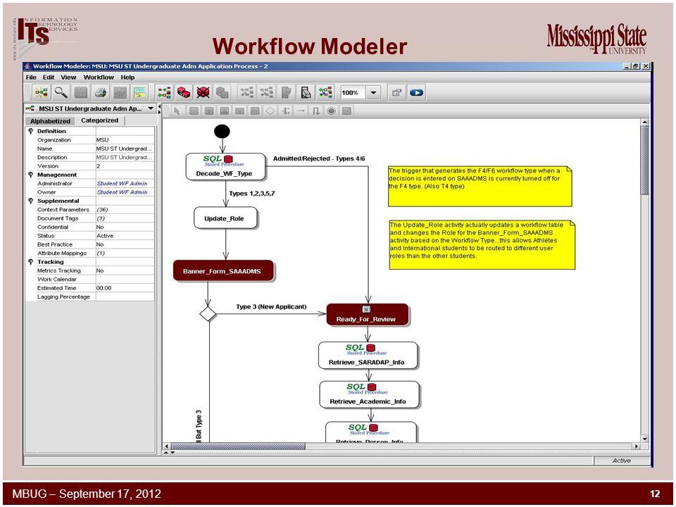 Workflow Modeler 12 MBUG – September 17, 2012