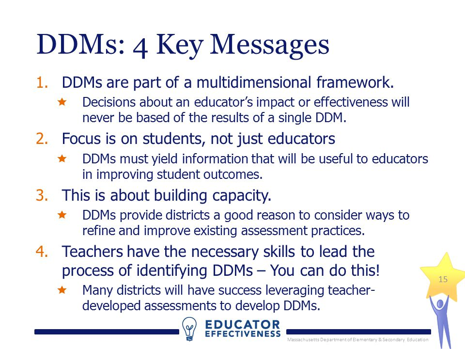 Massachusetts Department of Elementary & Secondary Education 15 DDMs: 4 Key Messages 1.DDMs are part of a multidimensional framework.