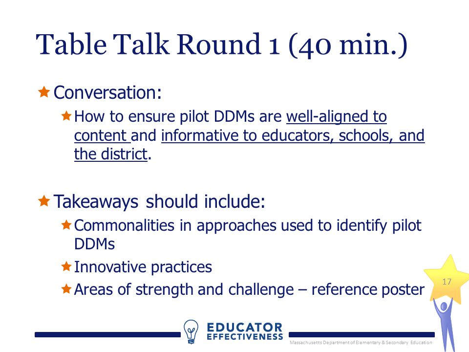 Massachusetts Department of Elementary & Secondary Education 17 Table Talk Round 1 (40 min.)  Conversation:  How to ensure pilot DDMs are well-aligned to content and informative to educators, schools, and the district.