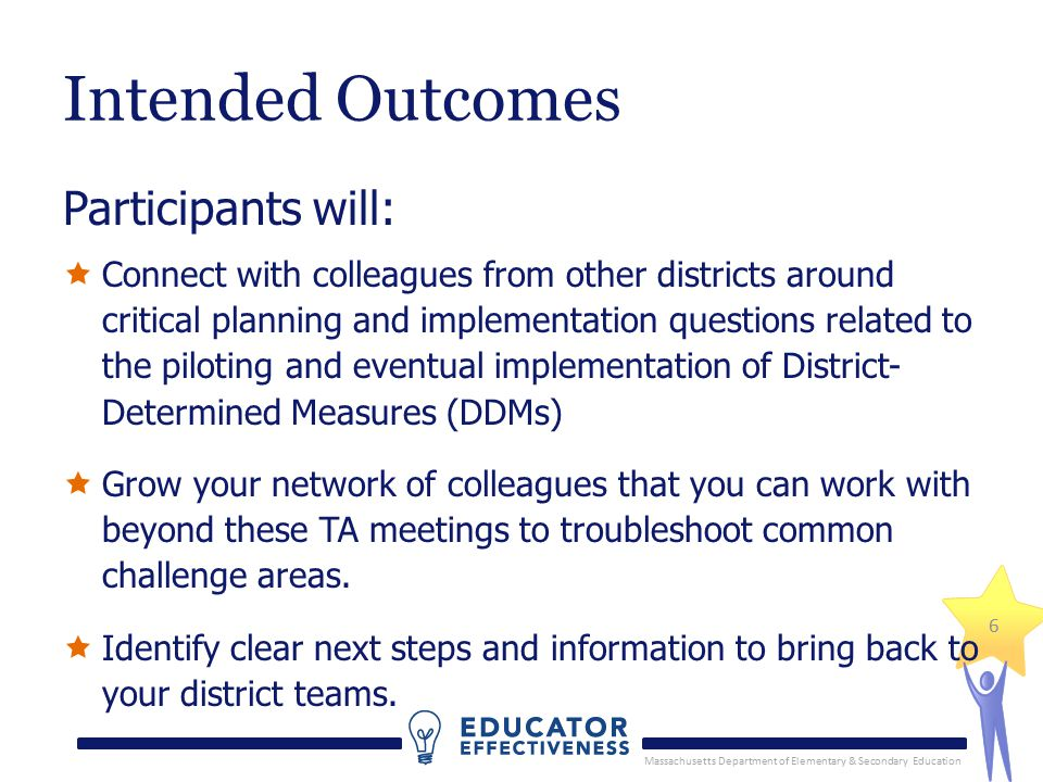 Massachusetts Department of Elementary & Secondary Education 6 Intended Outcomes Participants will:  Connect with colleagues from other districts around critical planning and implementation questions related to the piloting and eventual implementation of District- Determined Measures (DDMs)  Grow your network of colleagues that you can work with beyond these TA meetings to troubleshoot common challenge areas.
