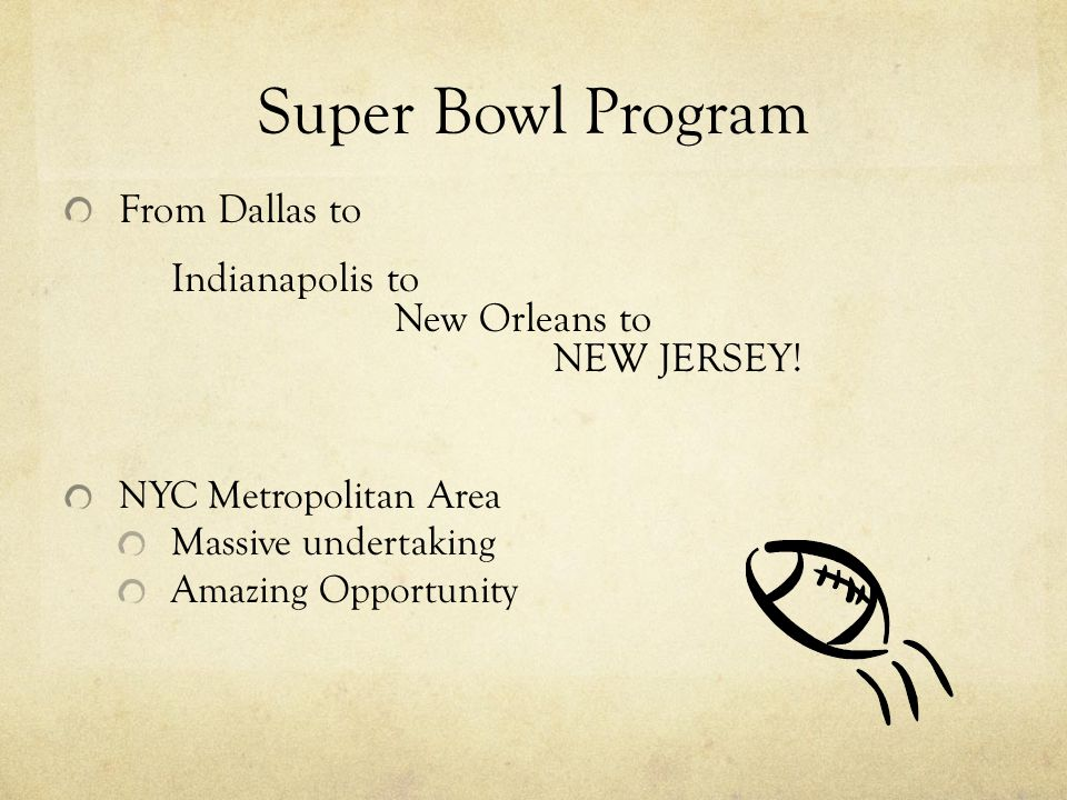 Super Bowl Program From Dallas to Indianapolis to New Orleans to NEW JERSEY! NYC Metropolitan Area Massive undertaking Amazing Opportunity