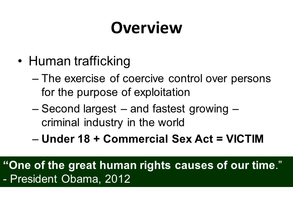 Overview Human trafficking –The exercise of coercive control over persons for the purpose of exploitation –Second largest – and fastest growing – crim