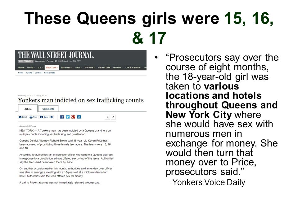 """These Queens girls were 15, 16, & 17 """"Prosecutors say over the course of eight months, the 18-year-old girl was taken to various locations and hotels"""