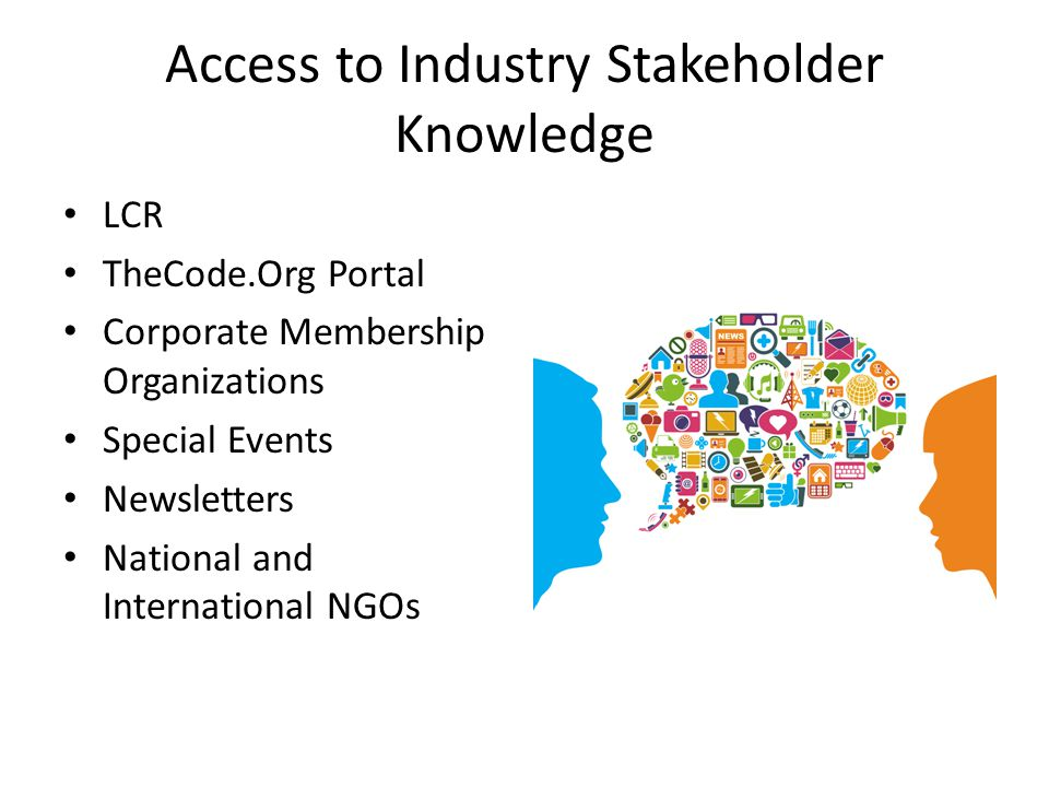 Access to Industry Stakeholder Knowledge LCR TheCode.Org Portal Corporate Membership Organizations Special Events Newsletters National and Internation