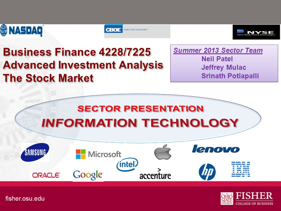 Business Finance 4228/7225 Advanced Investment Analysis The Stock Market Summer 2013 Sector Team Neil Patel Jeffrey Mulac Srinath Potlapalli Summer 2013 Sector Team Neil Patel Jeffrey Mulac Srinath Potlapalli