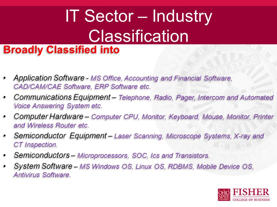 IT Sector – Industry Classification Broadly Classified into Application Software - MS Office, Accounting and Financial Software, CAD/CAM/CAE Software, ERP Software etc.