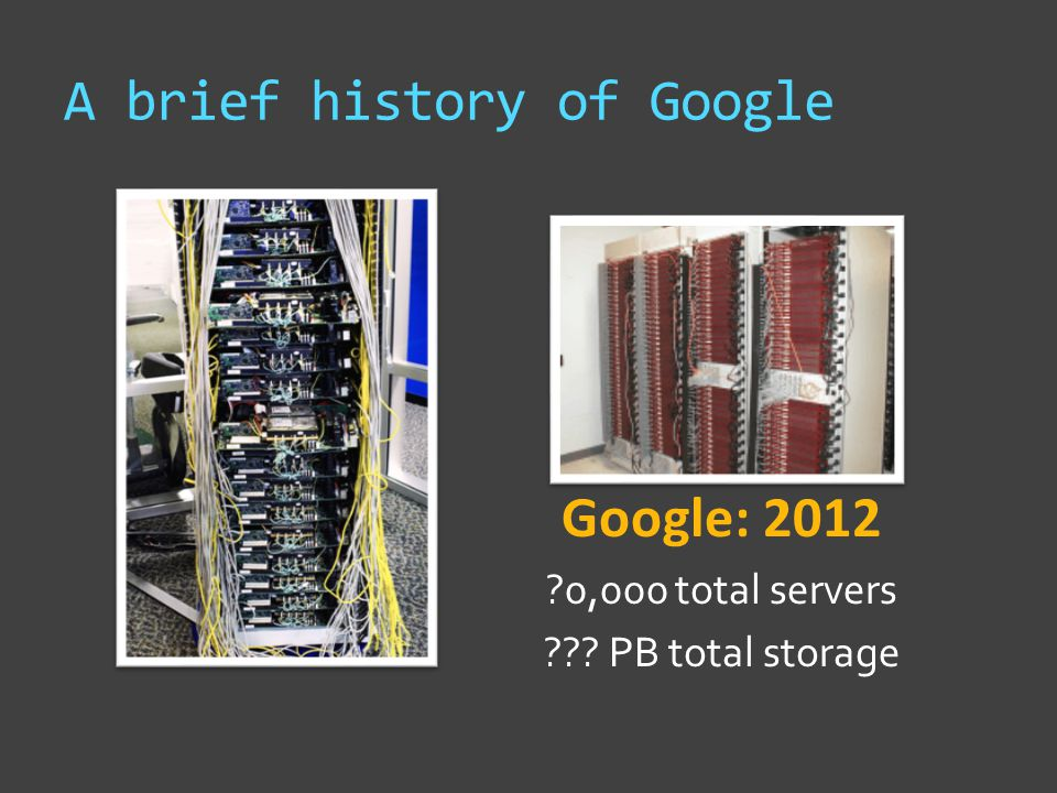 A brief history of Google Google: 2012 0,000 total servers PB total storage