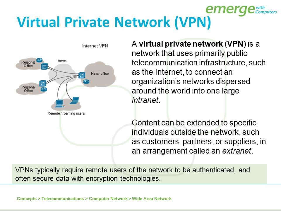 Virtual Private Network (VPN) A virtual private network (VPN) is a network that uses primarily public telecommunication infrastructure, such as the In