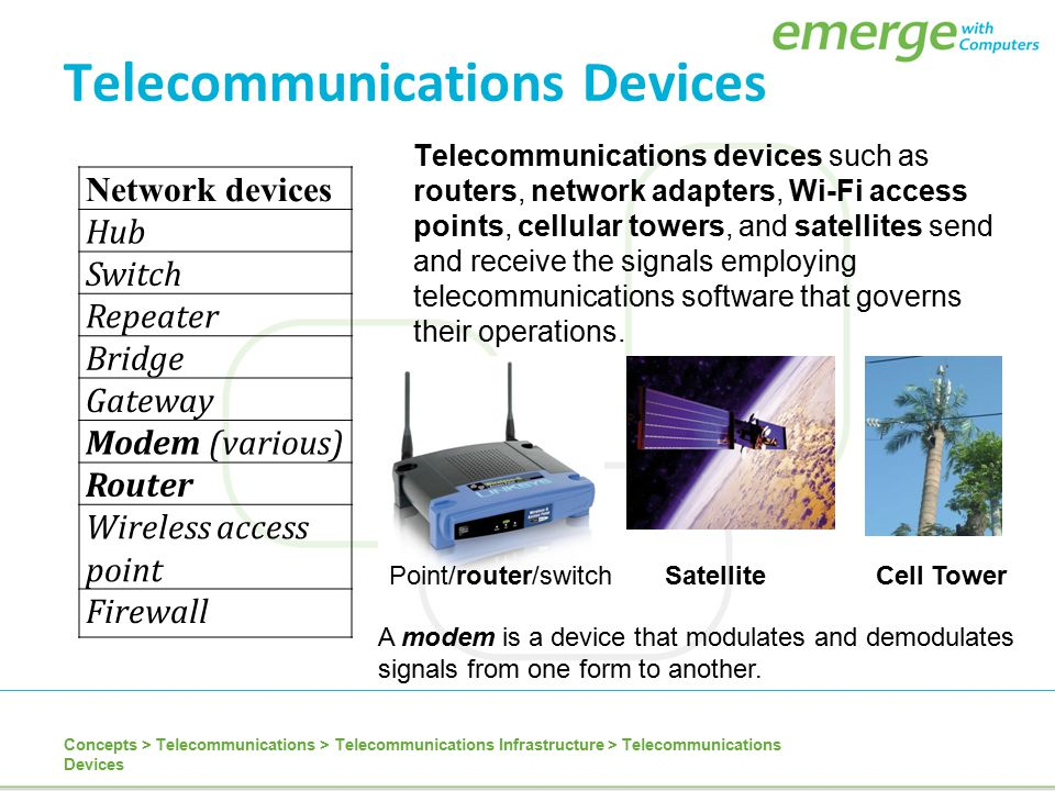 Telecommunications Devices Telecommunications devices such as routers, network adapters, Wi-Fi access points, cellular towers, and satellites send and