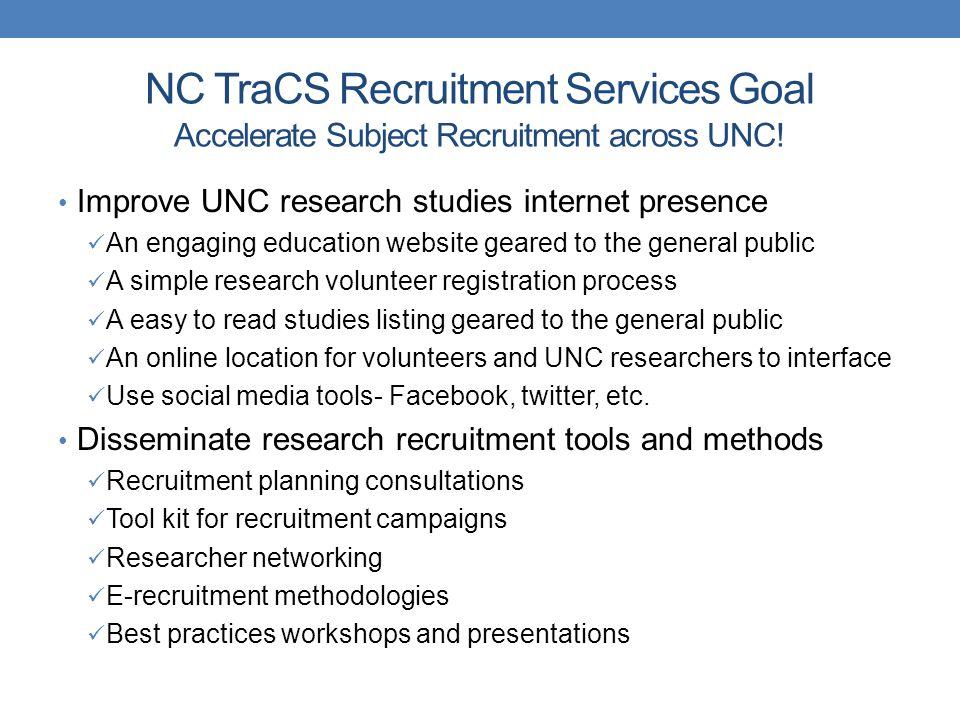 NC TraCS Recruitment Services Goal Accelerate Subject Recruitment across UNC.