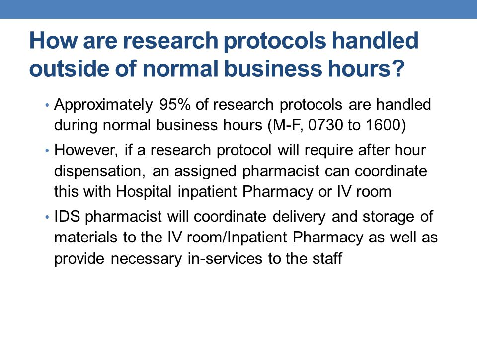 How are research protocols handled outside of normal business hours.