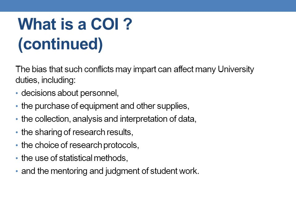 What is a COI .
