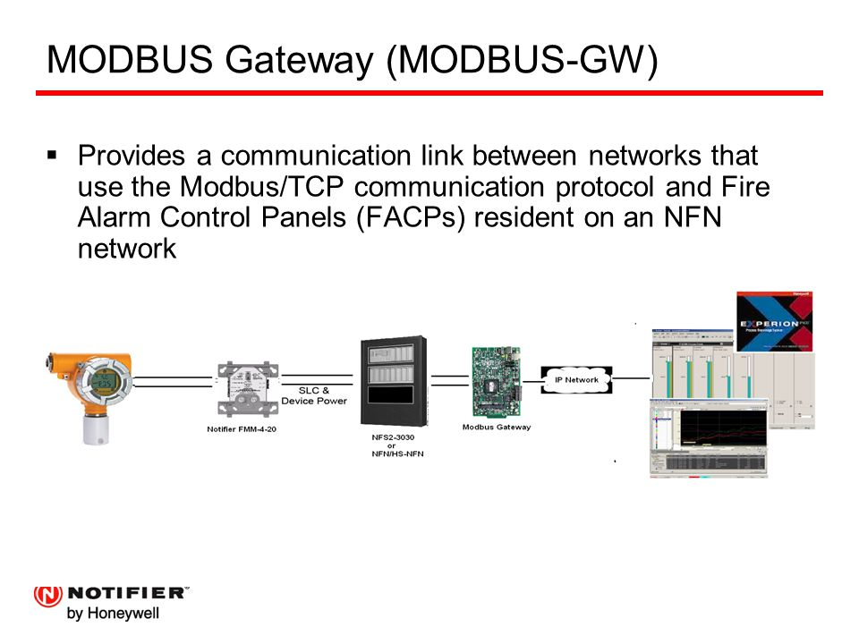 MODBUS Gateway (MODBUS-GW)  Provides a communication link between networks that use the Modbus/TCP communication protocol and Fire Alarm Control Panels (FACPs) resident on an NFN network