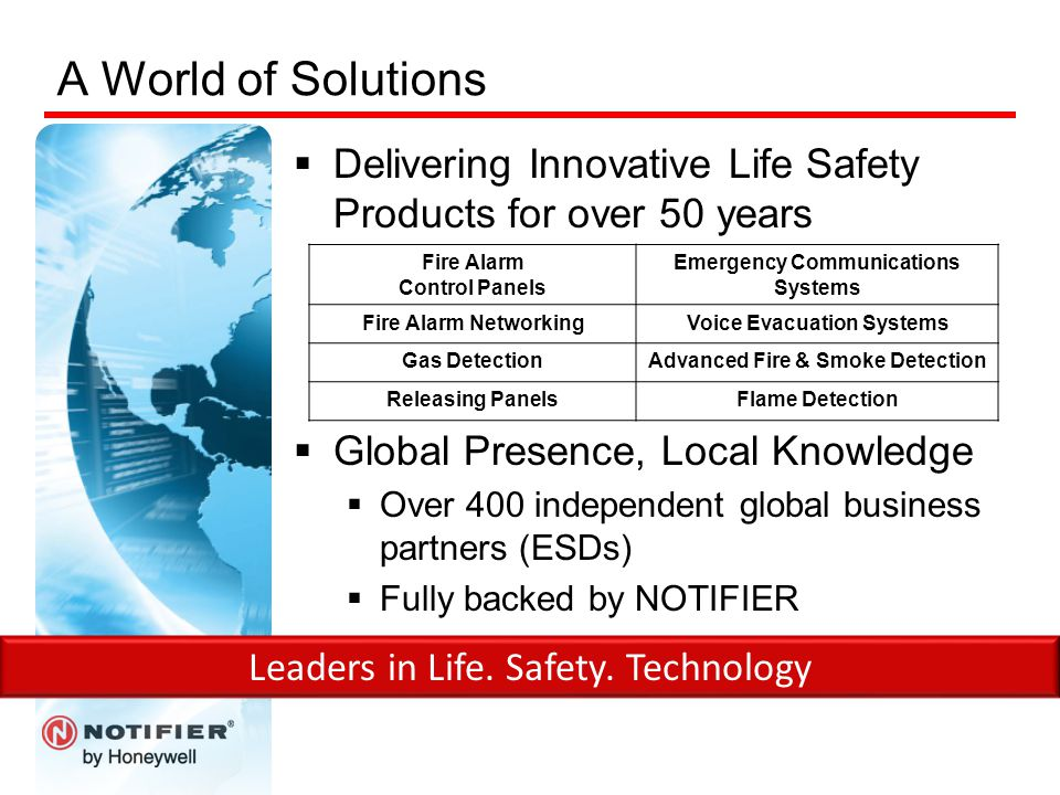 A World of Solutions  Delivering Innovative Life Safety Products for over 50 years  Global Presence, Local Knowledge  Over 400 independent global b