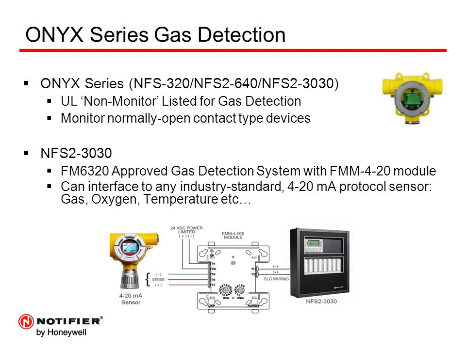 ONYX Series Gas Detection  ONYX Series (NFS-320/NFS2-640/NFS2-3030)  UL 'Non-Monitor' Listed for Gas Detection  Monitor normally-open contact type