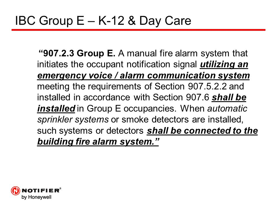"""IBC Group E – K-12 & Day Care """"907.2.3 Group E. A manual fire alarm system that initiates the occupant notification signal utilizing an emergency voic"""