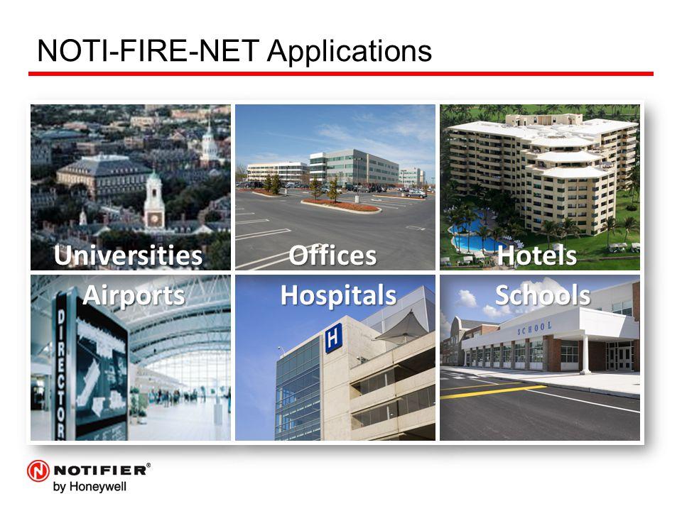 NOTI-FIRE-NET Applications UniversitiesOfficesHotels AirportsHospitalsSchools