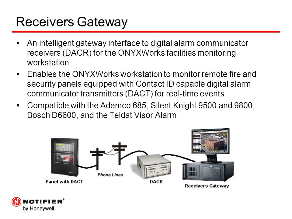 Receivers Gateway  An intelligent gateway interface to digital alarm communicator receivers (DACR) for the ONYXWorks facilities monitoring workstatio