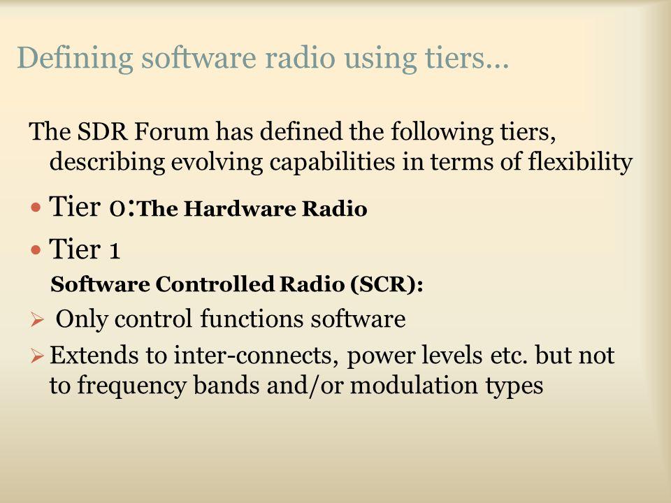 Defining software radio using tiers...