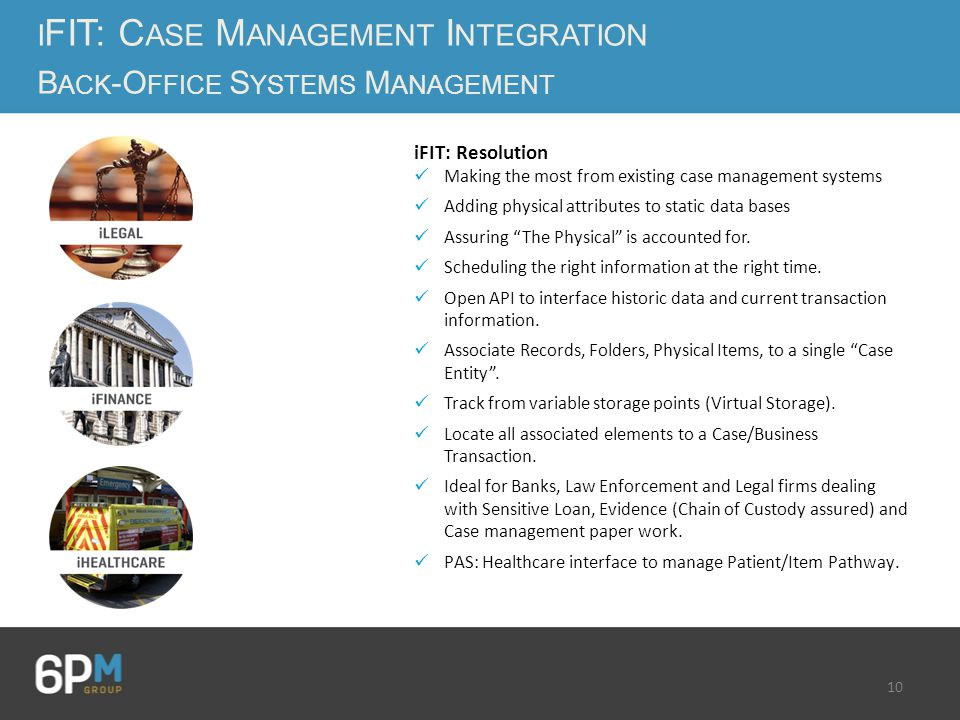 10 iFIT: Resolution Making the most from existing case management systems Adding physical attributes to static data bases Assuring The Physical is accounted for.