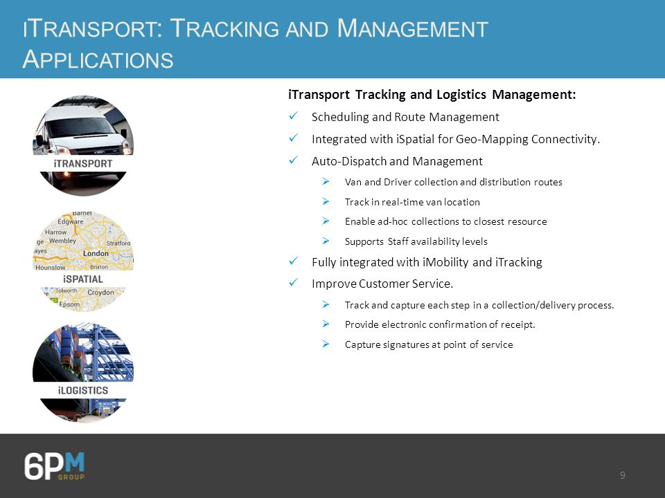 9 I T RANSPORT : T RACKING AND M ANAGEMENT A PPLICATIONS iTransport Tracking and Logistics Management: Scheduling and Route Management Integrated with iSpatial for Geo-Mapping Connectivity.